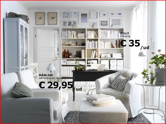 Una zona de trabajo en el living decoraci n sueca - Espacios de trabajo ikea ...