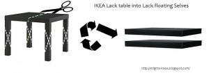 mesa LACK convertida en dos estantes