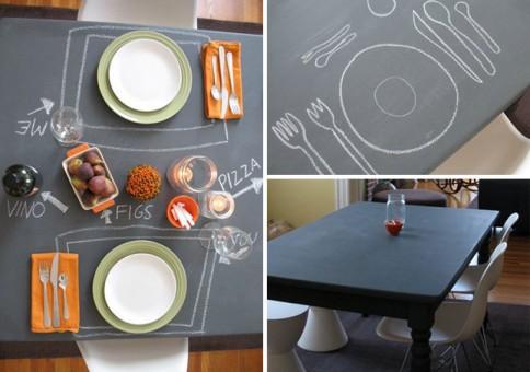 mesa renovada con pintura de pizarra