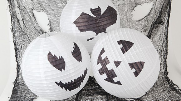 lampara de papel decorada para halloween