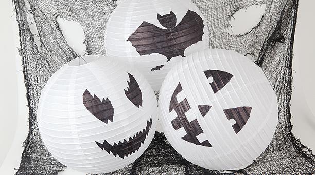lampara de papel decorada para halloween