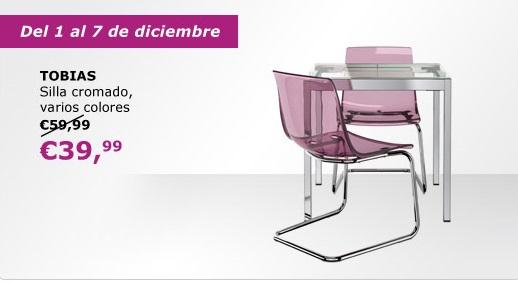 Oferta ikea serie tobias silla cromada for Sillas de comedor transparentes