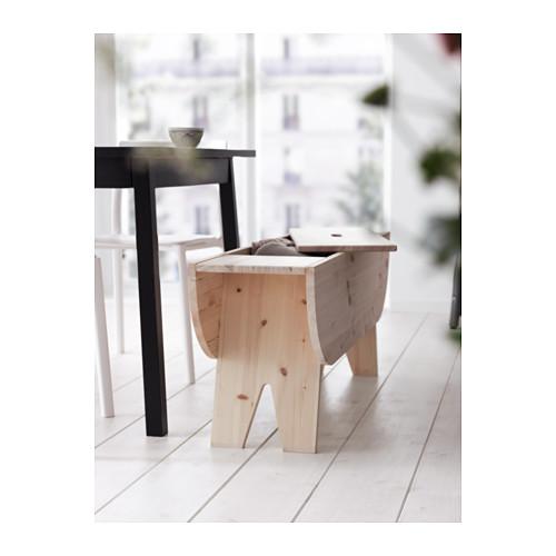 banco con cajón de madera