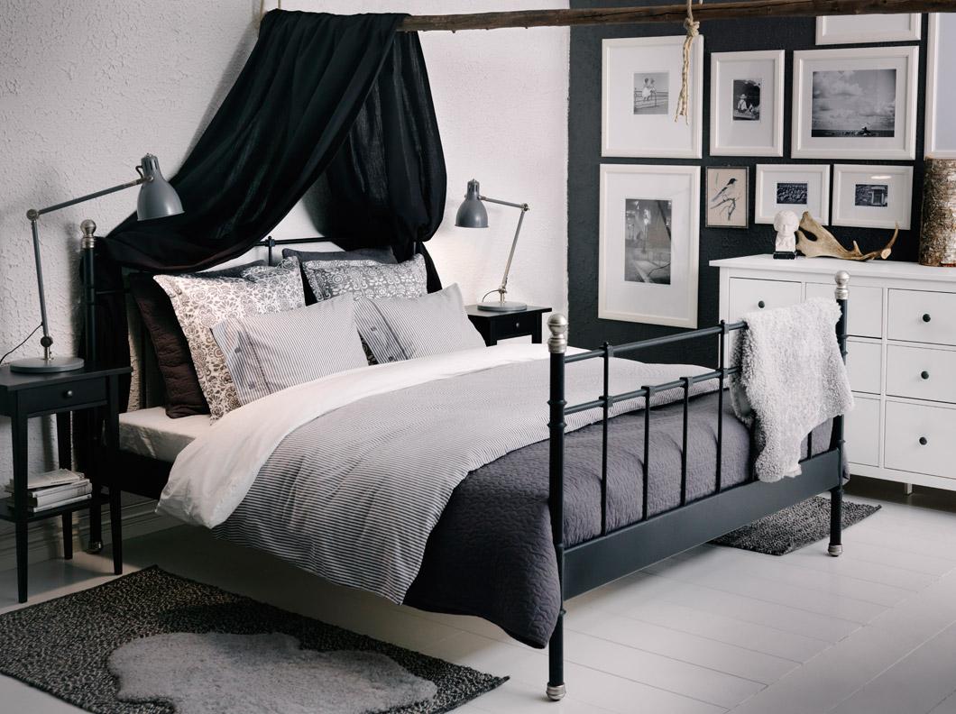 habitación en blanco negro y gris de ikea