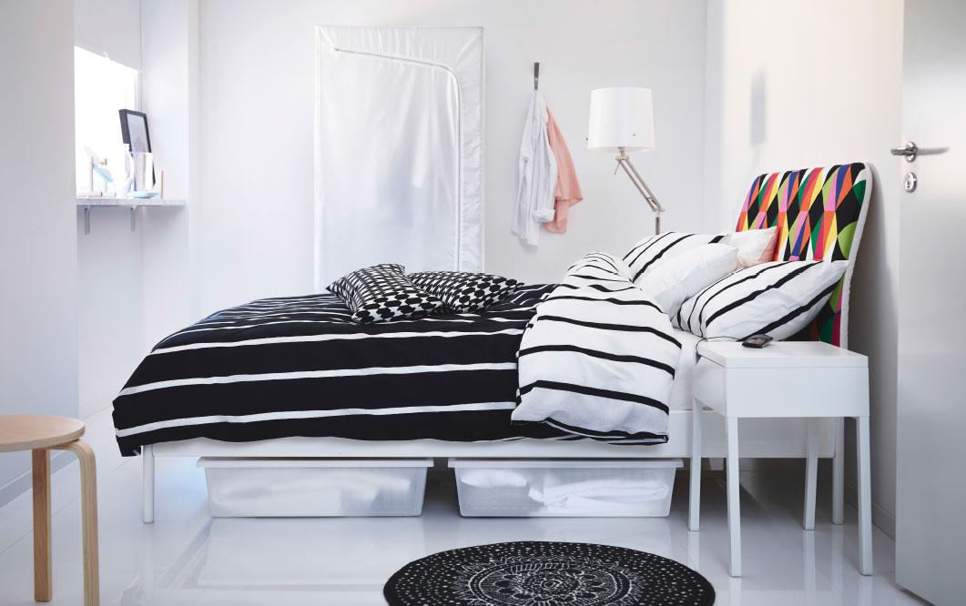 habitacion en blanco y negro de ikea