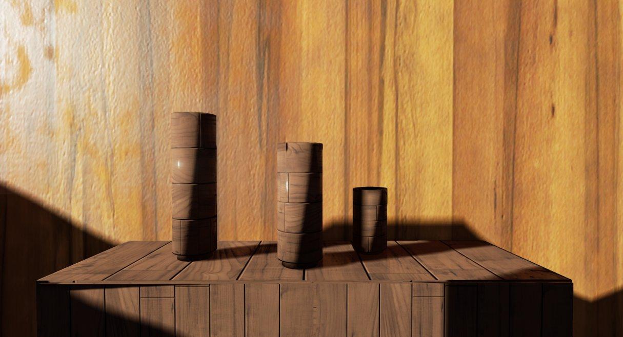jarrones hechos en madera