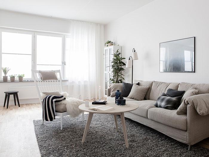salón en blanco y gris