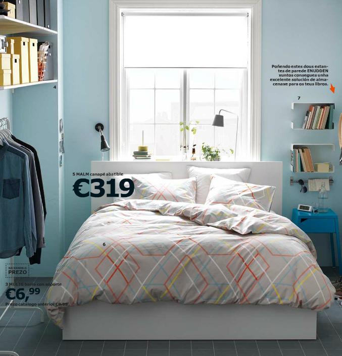 dormitorio decorado en color azul y blanco