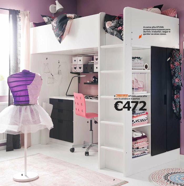 dormitorio para niña en color rosa