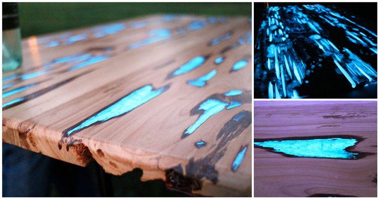 mesa con resina resplandeciente