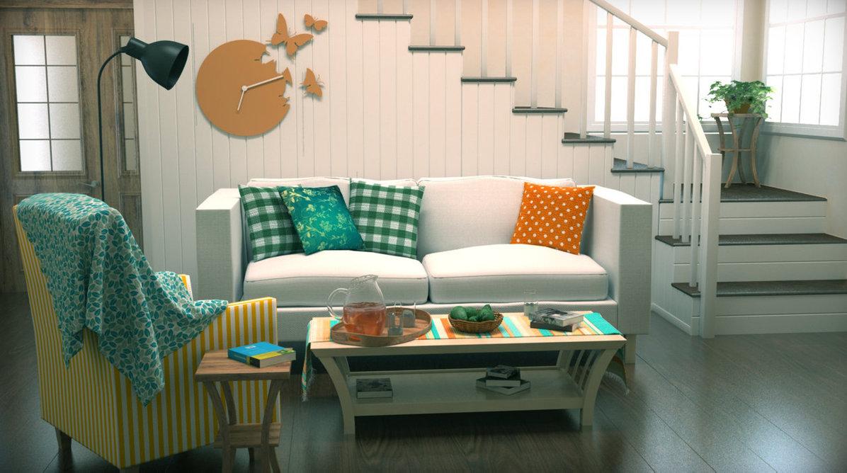 apartamento en blanco y turquesa