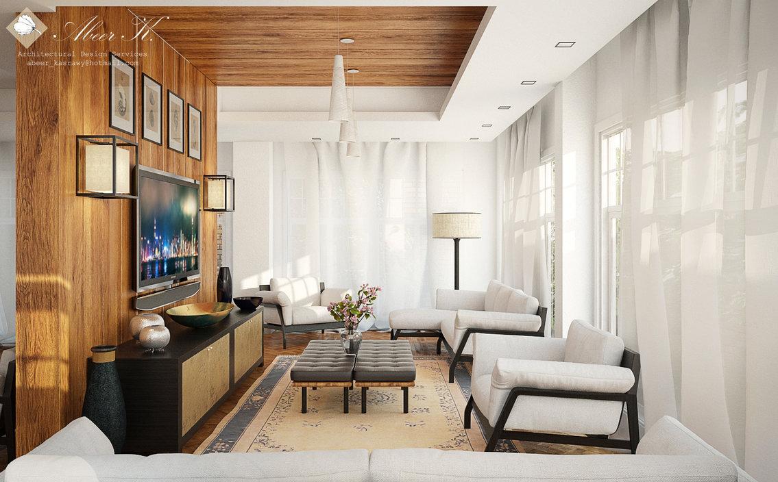salon diseñado en madera y color blanco