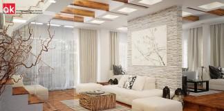 salón en color blanco y madera