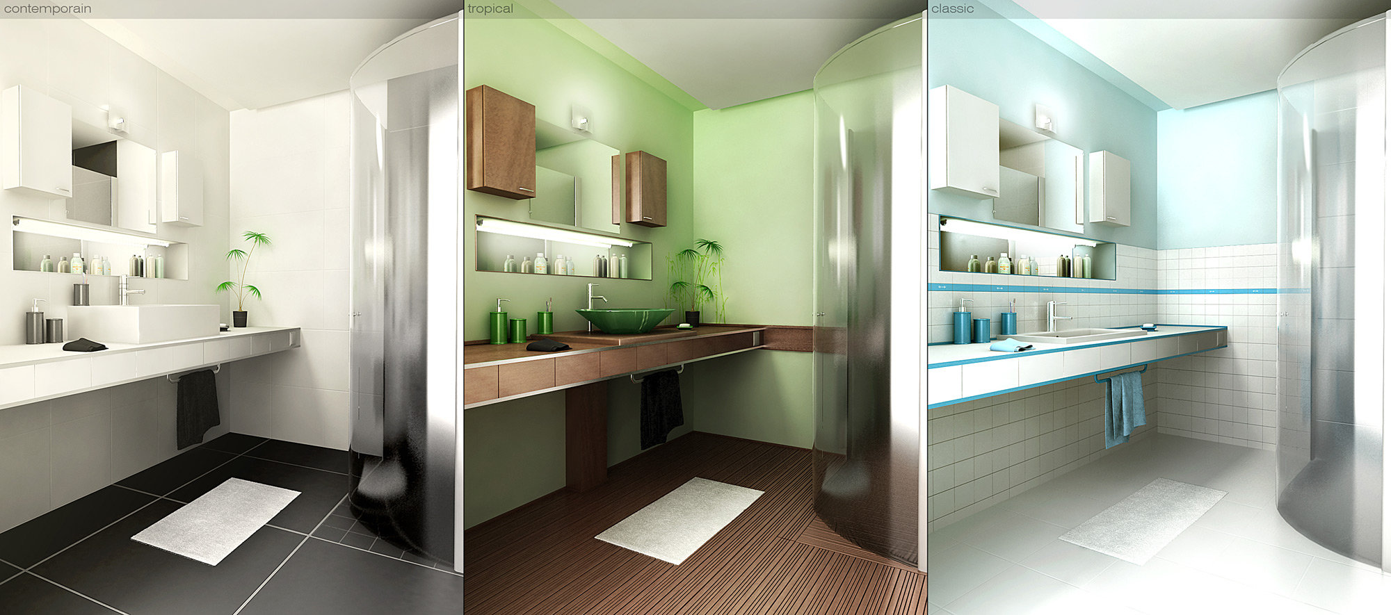 decorar el baño con tres ambientes diferentes