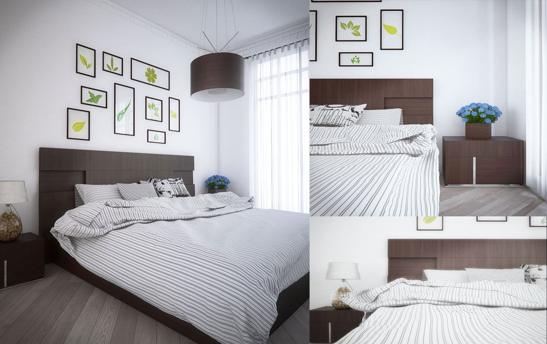 dormitorio escandinavo con pared de cuadros