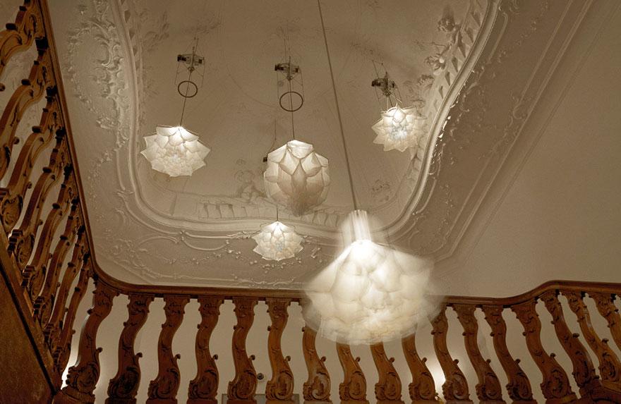 lámparas con efecto como si fueran flores