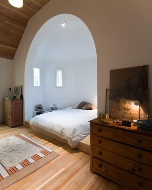 dormitorio en madera y color blanco