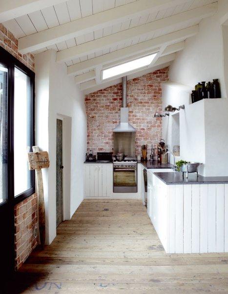 cocina en color blanco y de madera