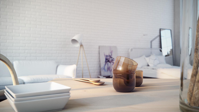 mesa con cuencos y vasos