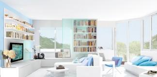 salon en color blanco y azul