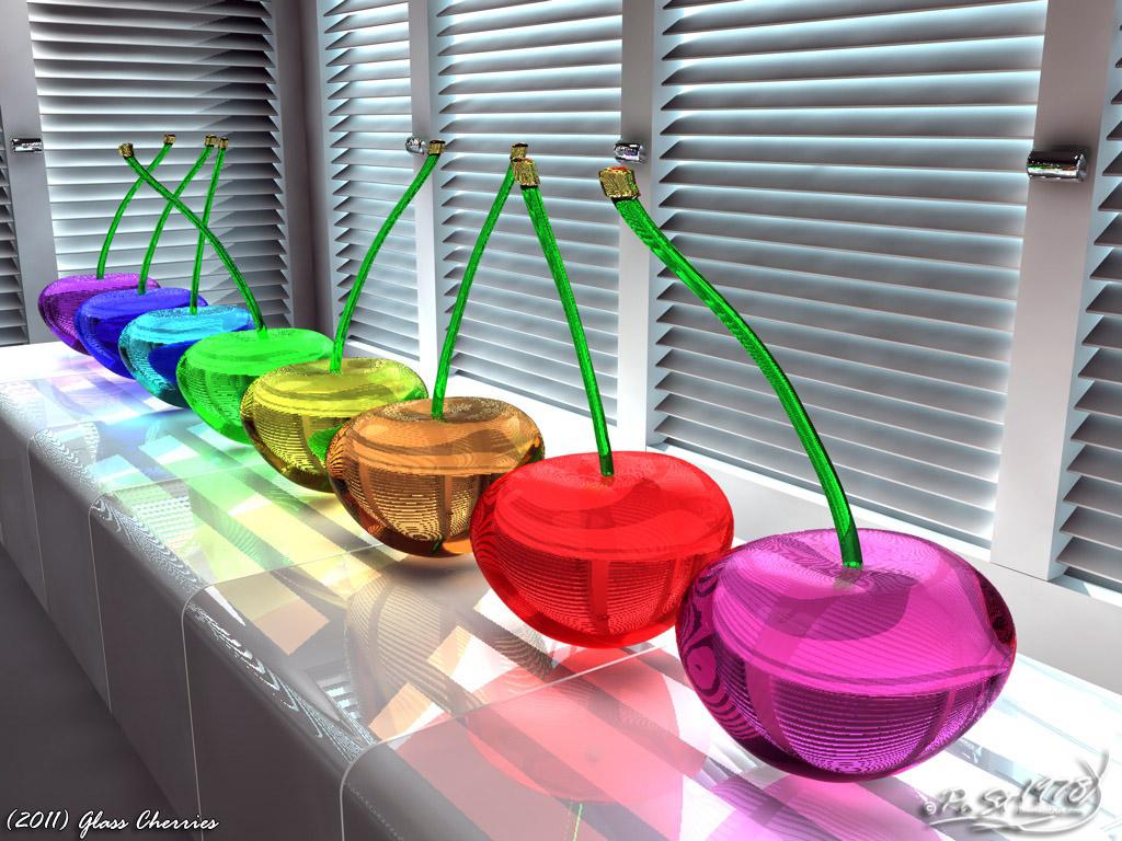 cerezas decorativas hechas en cristal