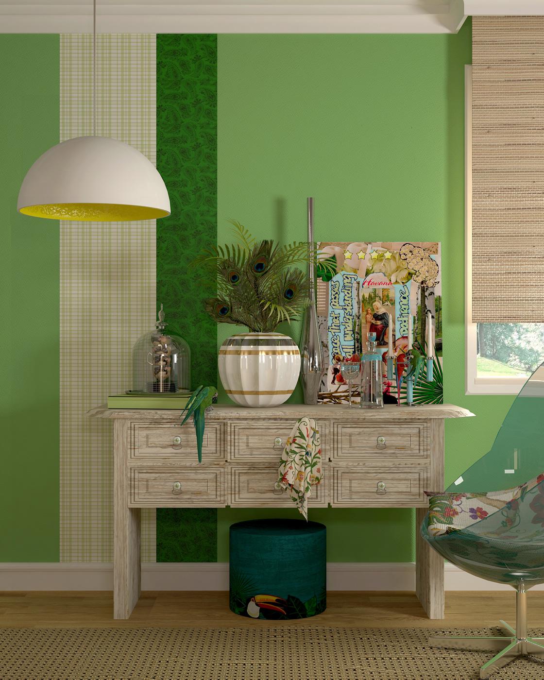 espacio en color verde