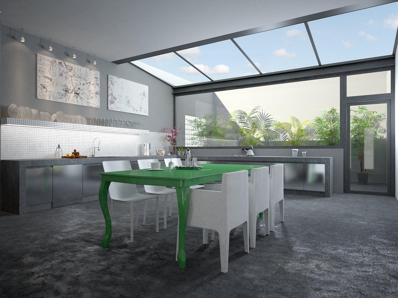 cocina en gris y verde