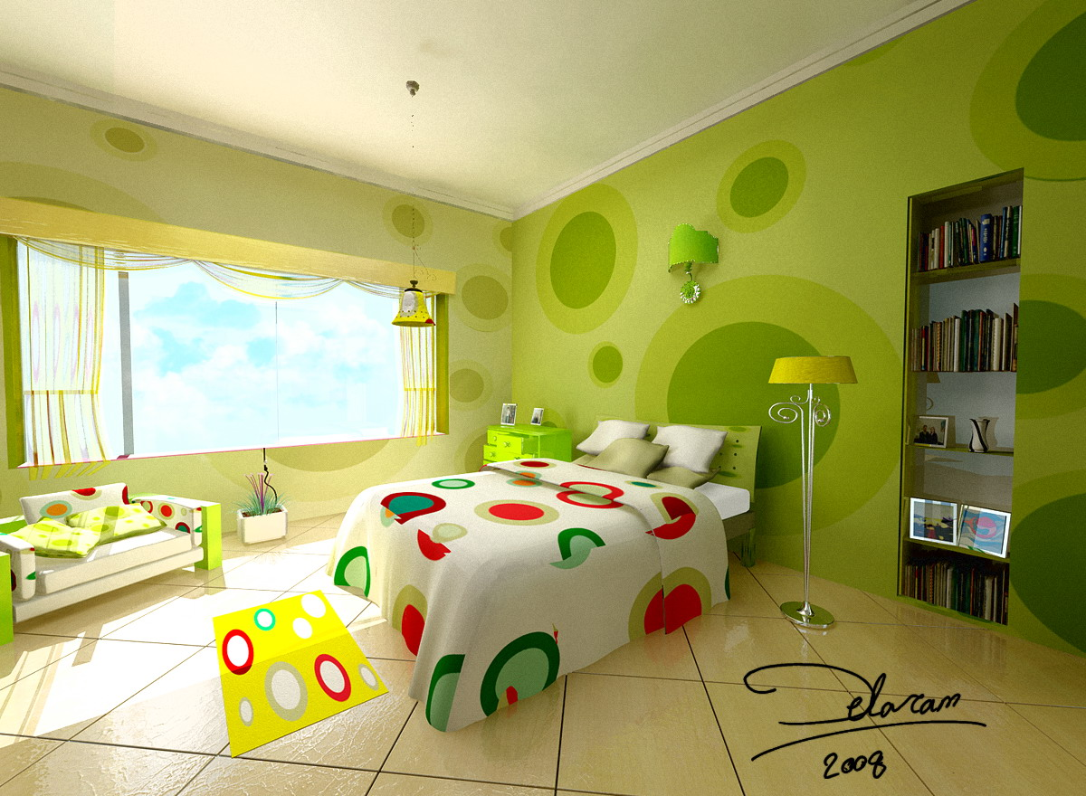 dormitorio en color verde