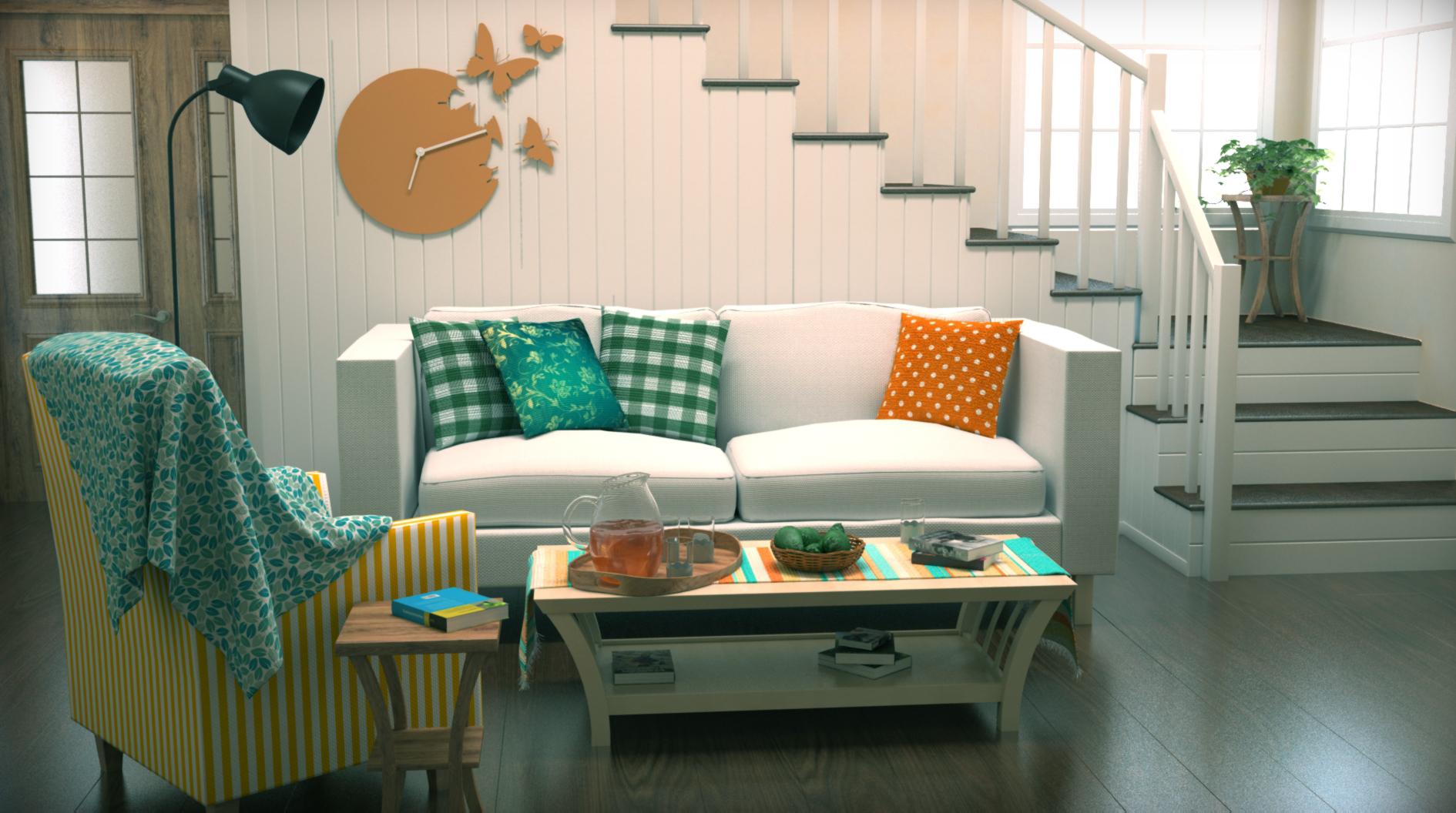 pequeño salón en blanco y turquesa