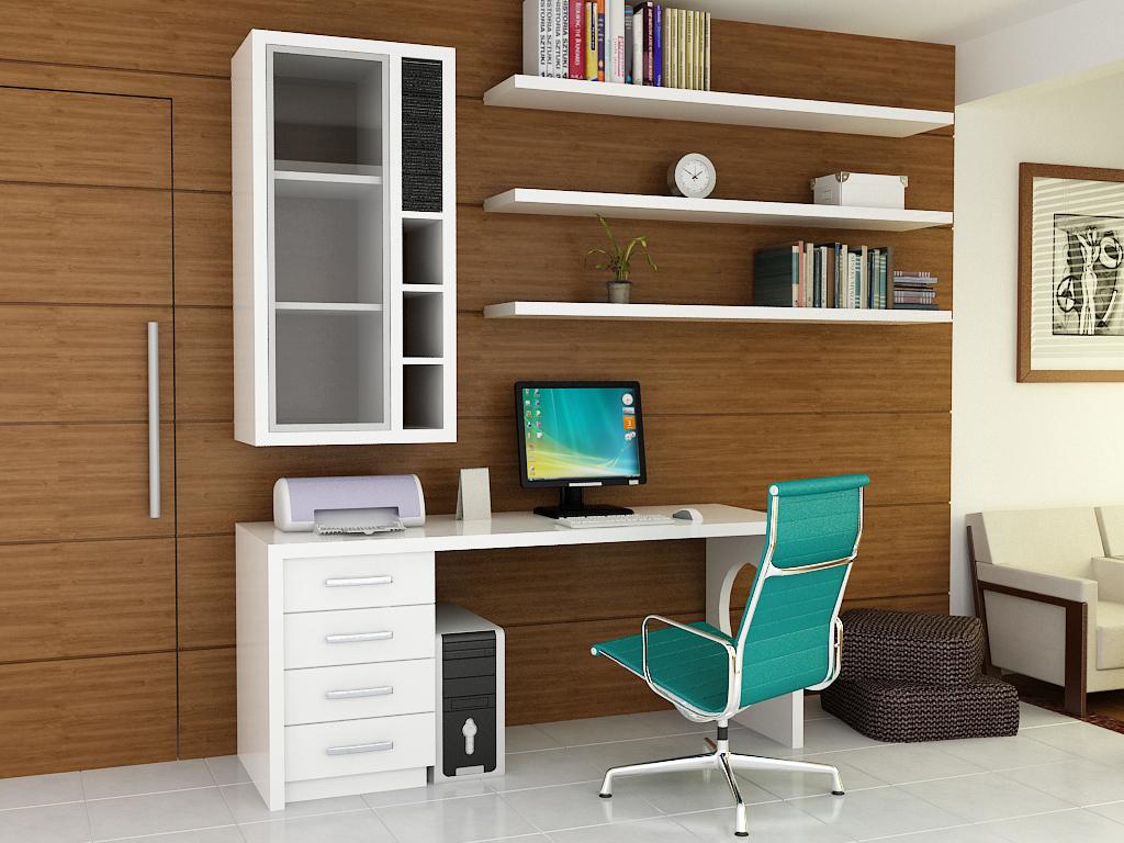 escritorio con silla en color turquesa