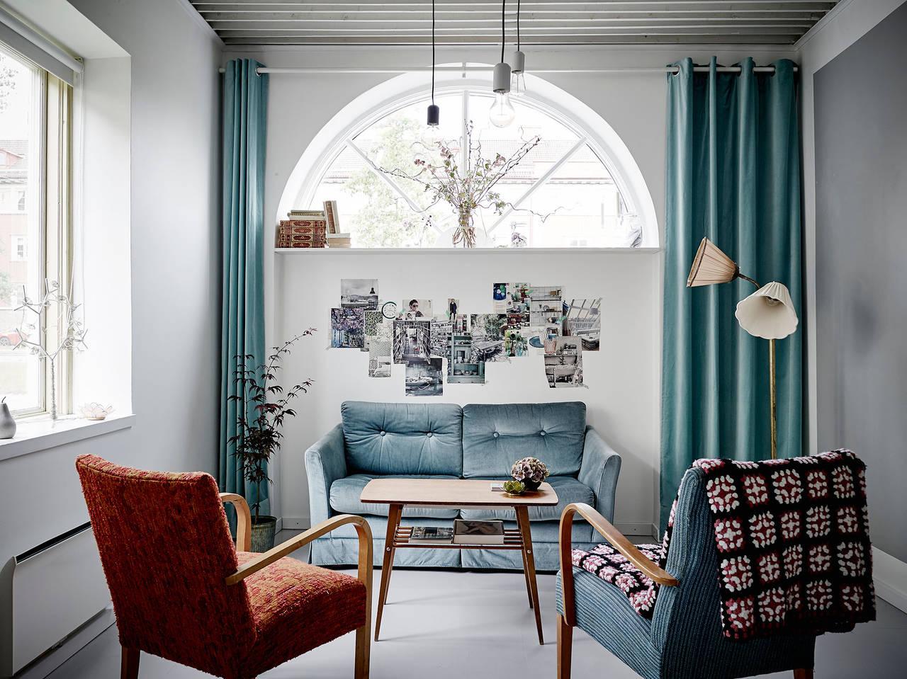 salón en color blanco y turquesa