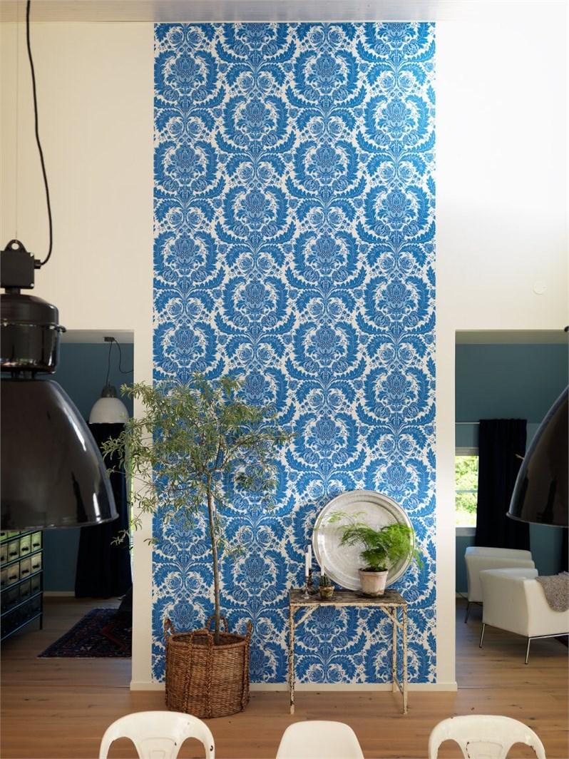 pared con un bonito patrón en azul