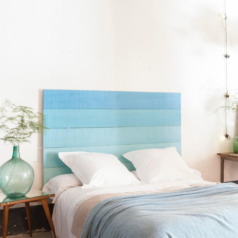 cabecero de cama en azul