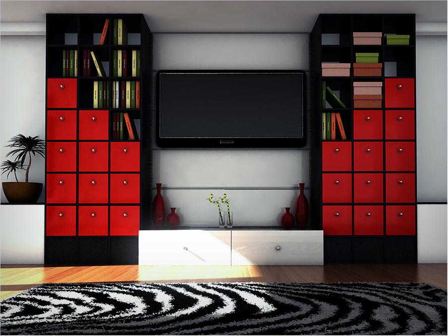 salón en color rojo y negro