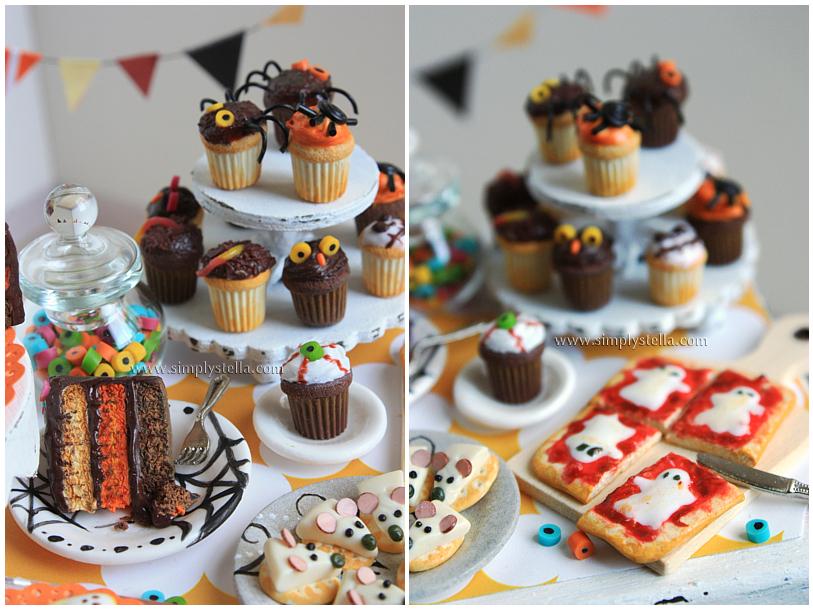 mesa llena de dulces para halloween