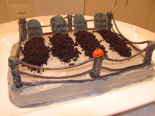 tarta en forma de cementerio