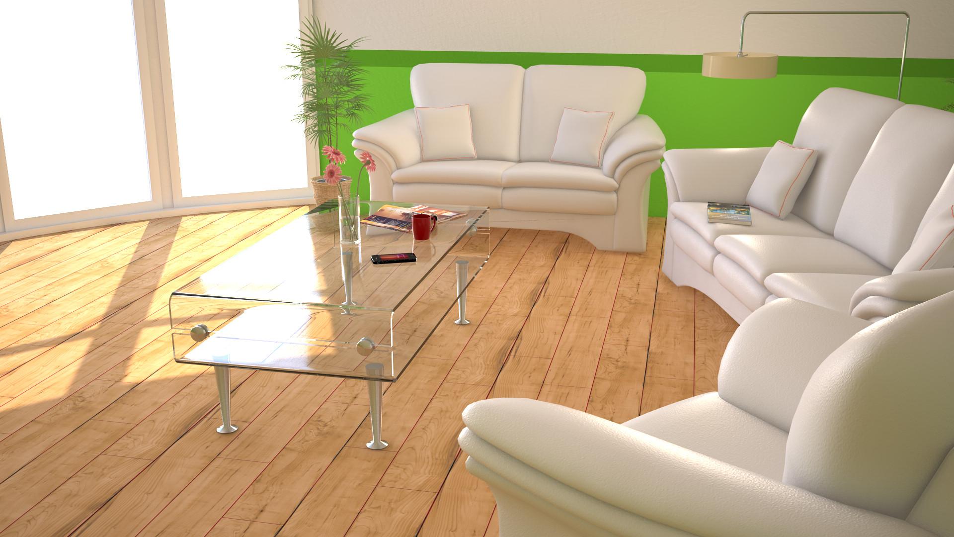 salón en blanco y verde