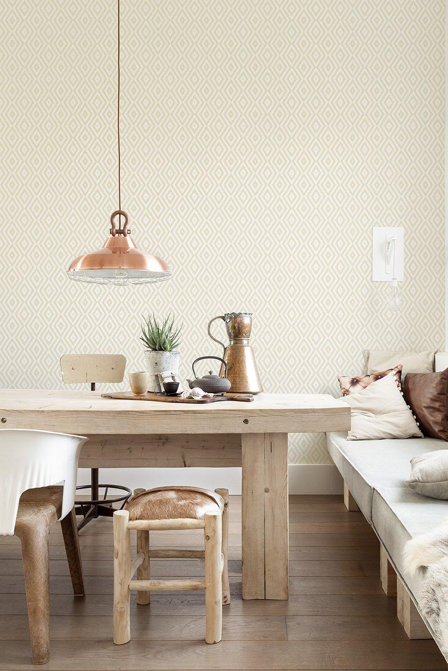 salón en madera y colores claros