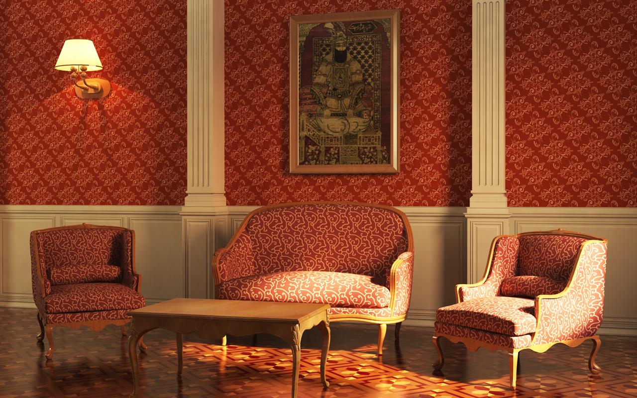sala de espera decorada en tonos rojizos