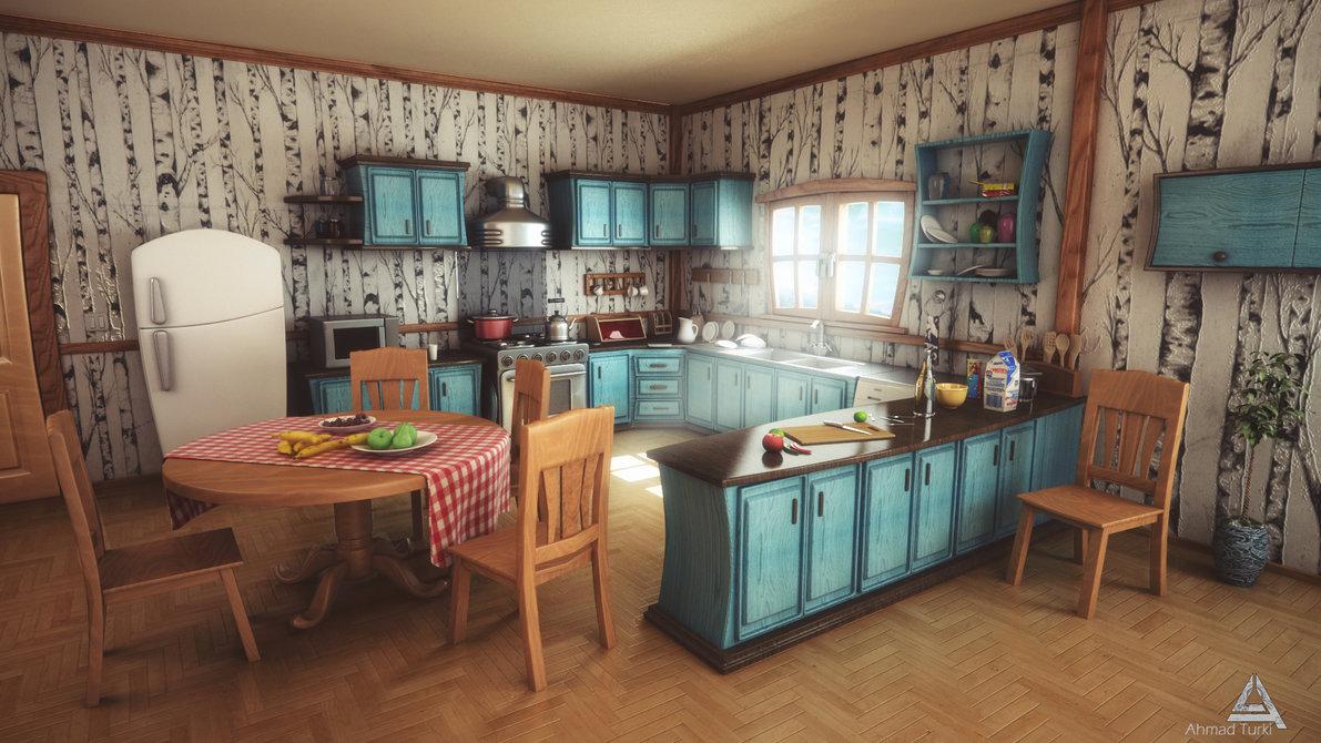 cocina de color azul y en madera