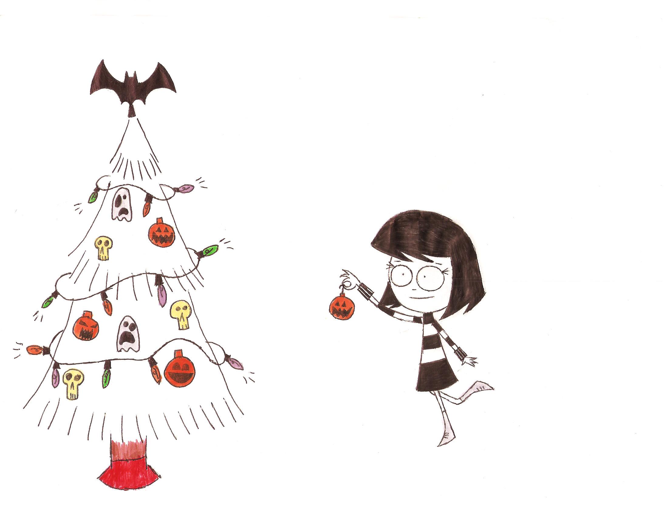 dibujo de una niña decorando el árbol de navidad con artículos de halloween