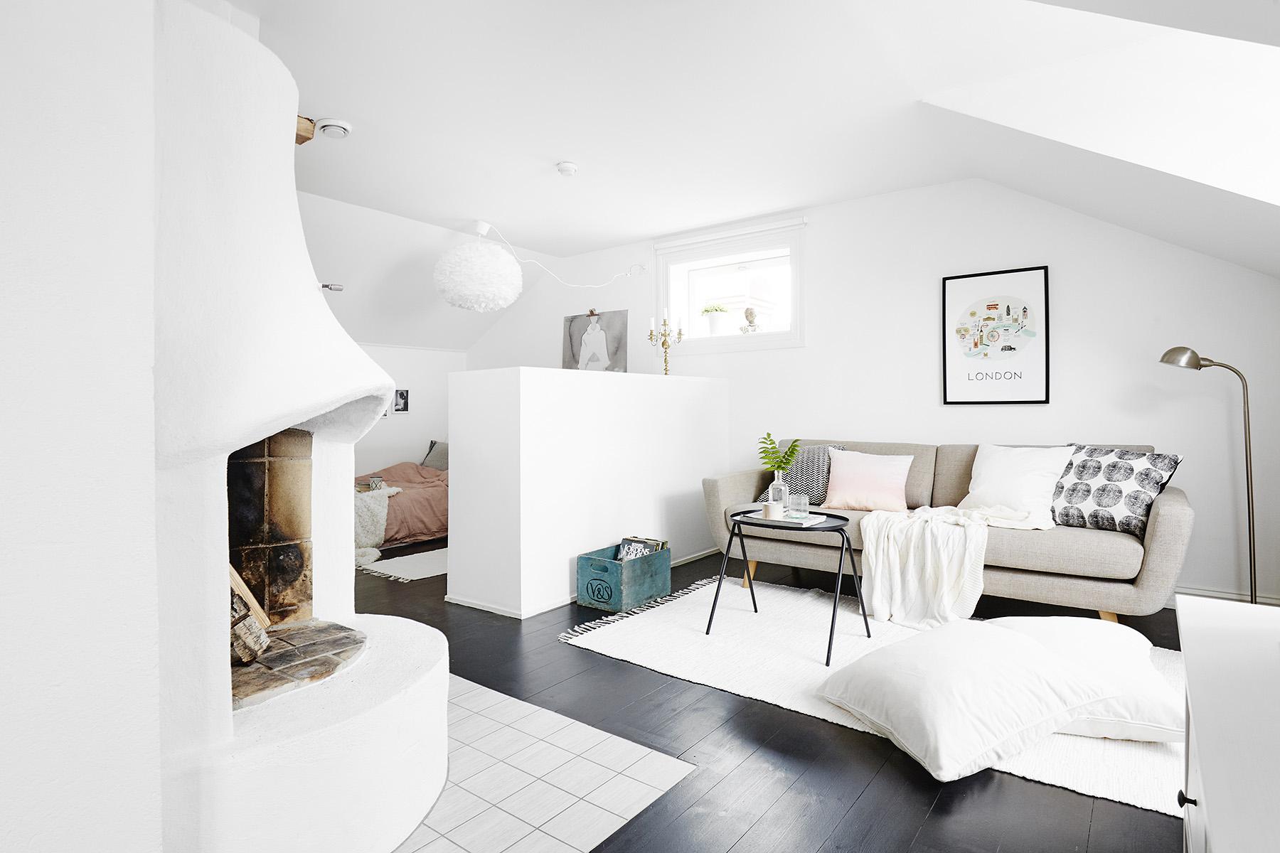 salón en color gris y blanco