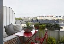 terraza en color rojo y gris