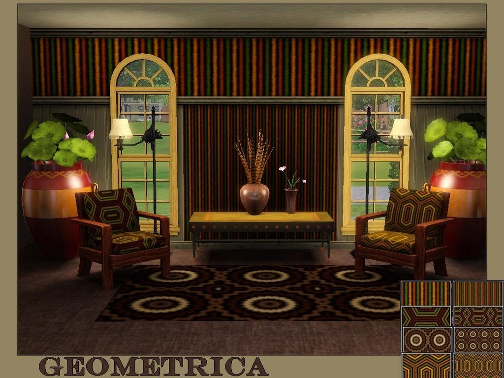 salón con alfombra estampada
