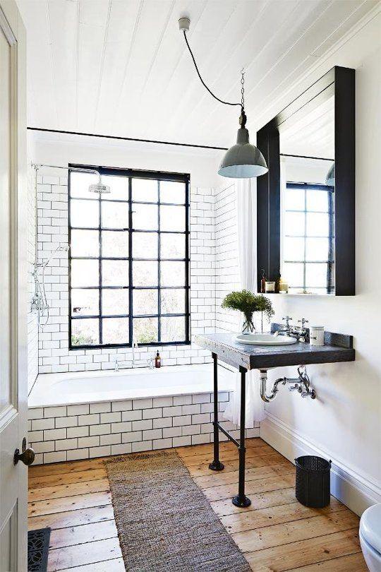 azulejos blancos con juntas negras otro baño