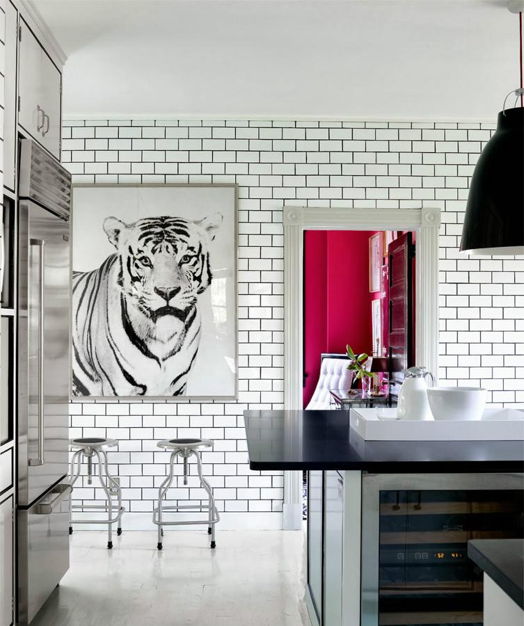 azulejos blancos con juntas negras retro y actual
