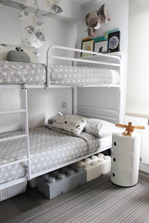 estilo nordico en dormitorios infantiles compartidos litera