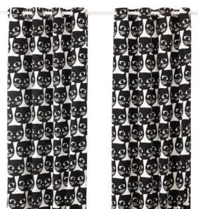 ikea abril 2016 PE558985 cortina gatos blanco negro algodon