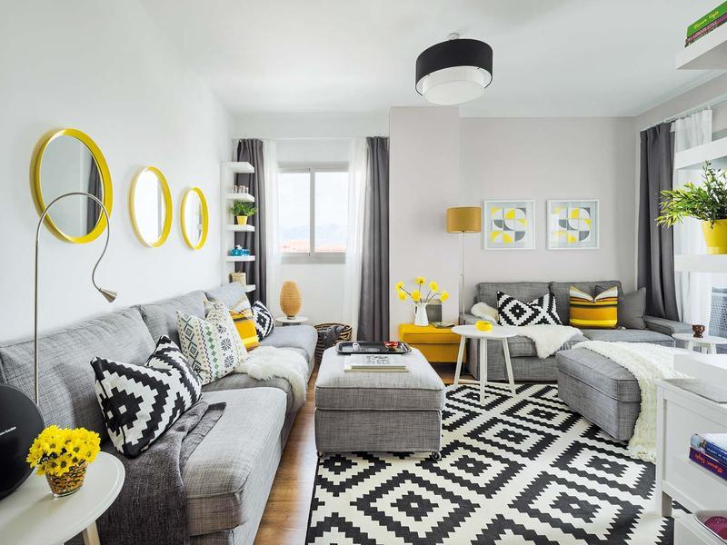 casas decoradas con Ikea - textiles geométricos