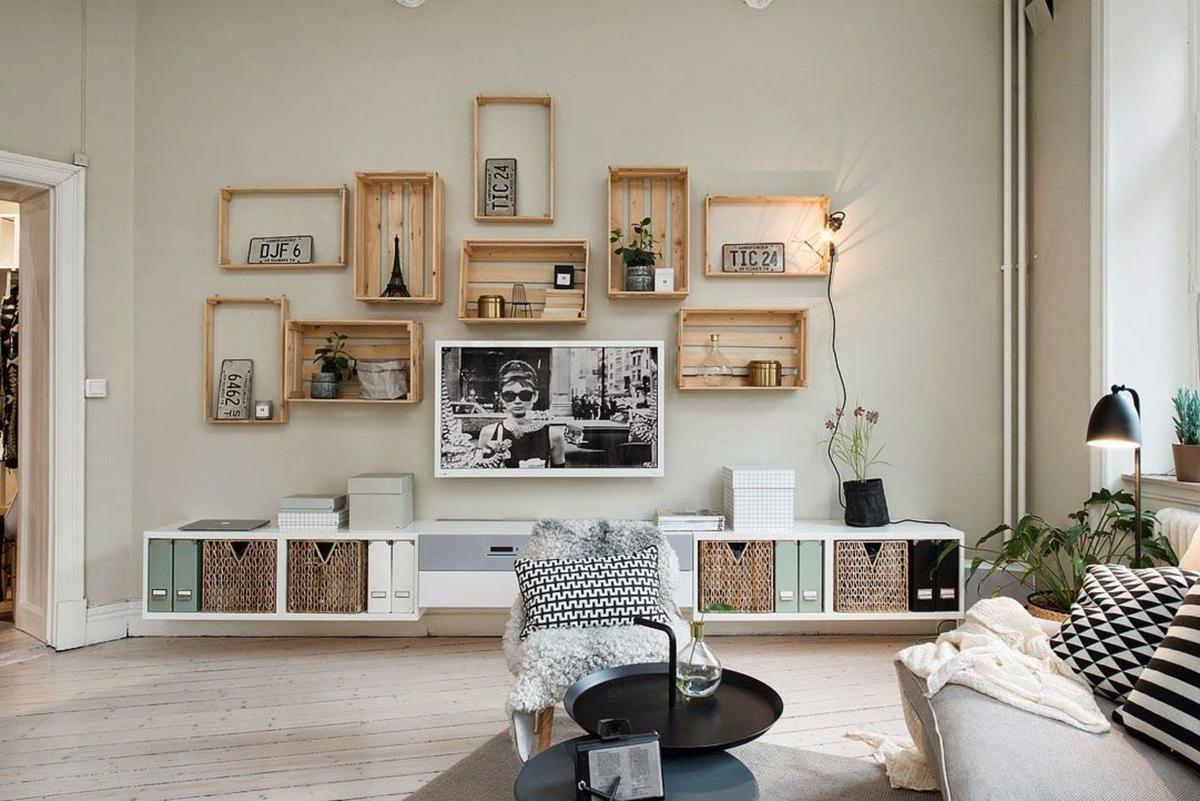 amueblar un piso completo - cajas de madera